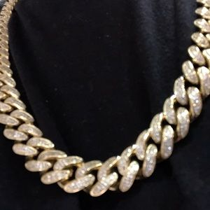 "14k gold plated 15mm Cuban chain 30"" iced out lab"